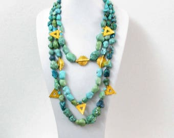 Beautiful 3 ranks in turquoise necklace natural vintage