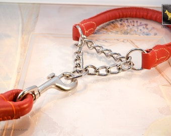 """Red Martingale Dog Collar and Leash Set Custom Fit For Medium Large X-Large Dogs Breed -  15"""" to 23"""""""