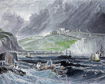 Dover By J.M.W. Turner. Engraving/Etching from The Harbours of England, 1895. Turner's harbours follow Sailmaker's harbours.