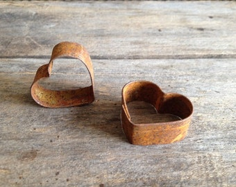 Rusty Tin Mini Heart Cookie Cutter. Package of two (2). Tin Cutters. Rusty Tin Cookie Cutter. Rusty Metal Heart Cookie Cutter.  Rusty Heart.