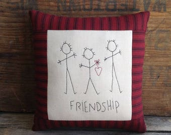 FRIENDSHIP Pillow. Hand drawn. Hand-stitched. Small Pillow. Friendship Gift. Hand Embroidery. Best Friend Gift. BFF Gift. Handmade Gift.