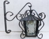RESERVED 寛 北峯 lantern vintage for outdoor, lamp for external, lantern for interior in wrought iron and frosted glass lantern to hang ofcolor