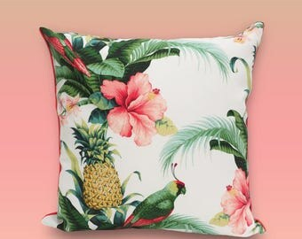 Pillow cover. Outdoor pillow for porch or indoor sunroom. Tommy Bahama fabric. Fabric with birds and exotic leaves. Stain resistant.