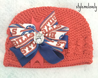 Buffalo Bills Baby Girl Boutique Bow Crocheted Hat