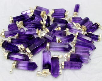 01 Piece ~ Natural Bluish Purple  Fuorite Necklace Pendants with 925 Sterling Silver