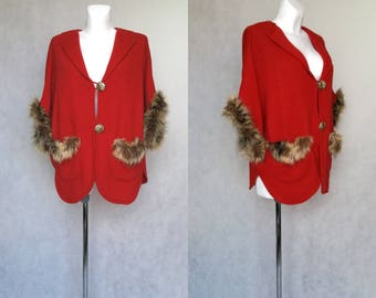 Vintage Red Cape, Red Knit Cape, Cape with Buttons, Knitted Retro Coat, Leopard Buttons, Fake Fur Cape, One Size Coat, 70s Costume Cape