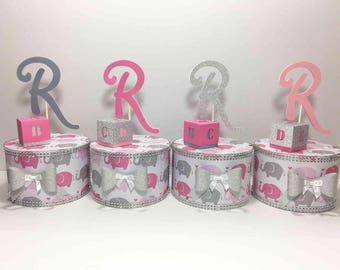Pink And Gray Baby Elephant Baby Shower Centerpiece, Girl Baby Shower, Elephant  Baby Shower