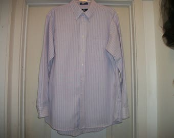 Retro 90s Lovely in Light LAVENDER STEAMPUNK COSPLAY Mans Blue Pinstripe Shirt, Stafford, 16 & 1/2 Inches, 34/35
