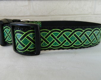 St Patrick's Day Black and Emerald Celtic Knots Dog Collar