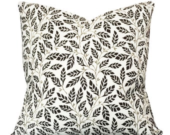 Taupe Leaf Vine Decorative Pillow Cover - Throw Pillow - Both Sides - 10x20, 12x16, 12x20, 14x18, 14x20, 14x24, 16x16, 18x18, 20x20, 22x22