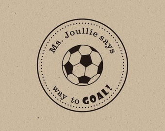 soccer ball stamp-way to goal-Teacher Grading Stamp Stamp - Teacher's Great Job Custom Stamp- well done teacher gift - custom stamp