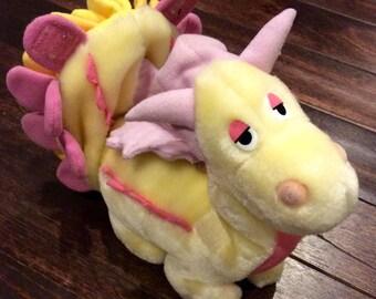 "1987 Ganz Bros ""Be Mores"" GUSTY Dragon/Dinosaur Plush Doll, Gusty Dragon Plush, Gusty Dinosaur Plush Doll, Vintage Hasbro Plush,Yellow Plush"