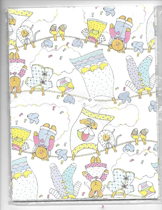 Puppy Bows ~ craft items 2 large sheets baby shower gift wrap American Greetings NIP heavy paper