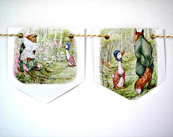 Nursery Bunting.  Beatrix Potter Jemima Puddleduck paper garland.  Baby shower gift.  First birthday gift.  Vintage baby room wall art.