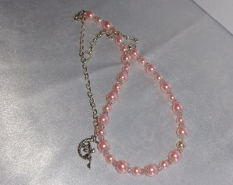 Pink Pearl And Swarovski Crystal Necklace