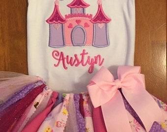 Pink and Purple Princess Castle Scrap Fabric Tutu Outfit