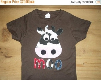 Brown, Red, and Blue Moo Cow Shirt or Baby Bodysuit