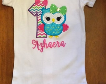 Bright Girly Owl Embroidered Birthday Shirt or Baby Bodysuit