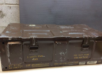 Vintage Military Army Industrial Metal Ammo Canon Box
