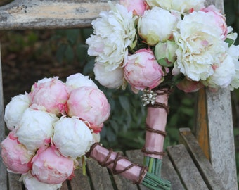 Blush Cream Peony Silk Wedding Bouquet Package