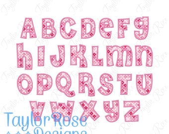 Chunky Fat 'DREW 2' Bean Stitch Applique Alphabet Font Machine Embroidery Design 2x2 3x3 4x4 5x5 6x7 Top stitch Thick INSTANT DOWNLOAD