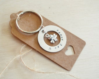 Bee Happy Hand Stamped Keyring with Bee pendant