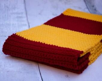 Harry Potter Gryffindor Scarf -- Red & Gold Winter Scarf, Striped Winter Scarf, Extra Long Scarf, Harry Potter Costume, Hogwarts Scarf