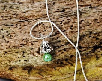 Buddha necklace  silver plated snake chain 20in with green pearl bead
