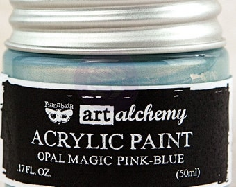 Finnabair Art Alchemy Opal Magic Prima Acrylic Paint 1.7 oz  PINK-BLUE Opalescent  #963668