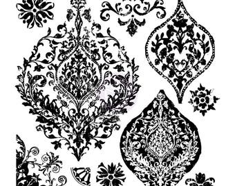 "Prima IOD Iron Orchid Designs Decor Stamps PORTICO Medallions Flourishes Clear Acrylic 12x12"" Stamp Set 10 Pcs 815769"