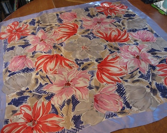 """Vintage Large Silk Oscar Scarf Red Pink Blues Gray Floral Bees Gorgeous! 30""""x 31"""""""
