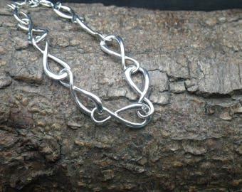 Sterling Silver Large Link Figure 8 Twist Diamond Charm Bracelet Bangle