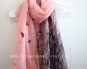 Pink Bird and Tree Branch Scarf, Bird Scarf, Gift For Her, Womens Scarves, Gift For Women, Christmas Gifts, For Girlfriend, Xmas Gift Idea