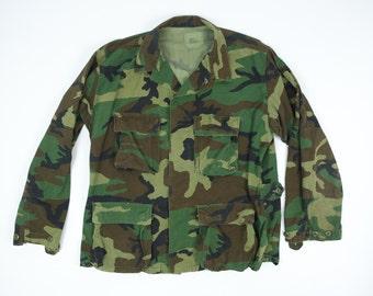 Vintage Camo Army Jacket Men's Large - Woodland Camo Jacket L - Vintage Camouflage Jacket Mens L - Warm Weather Army Jacket - Ripstop Jacket