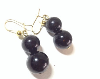 Whitby jet drop earrings