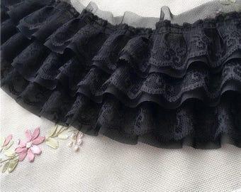 "2 yards Lace Trim Fabric Black Tulle Chiffon Ruffled 3 Layers Wedding Fabric 4.33"" width"