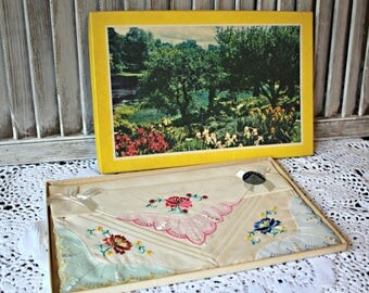 Vintage hankies. In a pretty picture box.