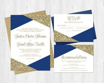 Navy Gold Invitation | Etsy