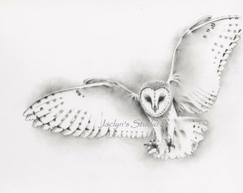 """Flying Barn Owl Giclee Print 8""""×10""""- Pencil and Charcoal Owl Drawing, Owl Art, Owl Sketch"""