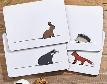 Woodland Collection Placemats, Mixed Set of Four Tablemats with Fox, Hedgehog, Badger, Rabbit, Melamine Placemats with Woodland Animals