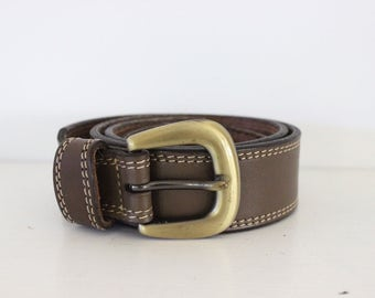 Giordano leather belt brown tan colour khaki solid brass buckle size 26 womens