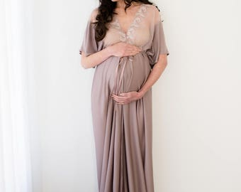 MATERNITY DRESS for photo shoot, prop, robe, gown, sizes 4-20, plus size, one-size-fits-all, lace, taupe, long, floor length, maxi, split