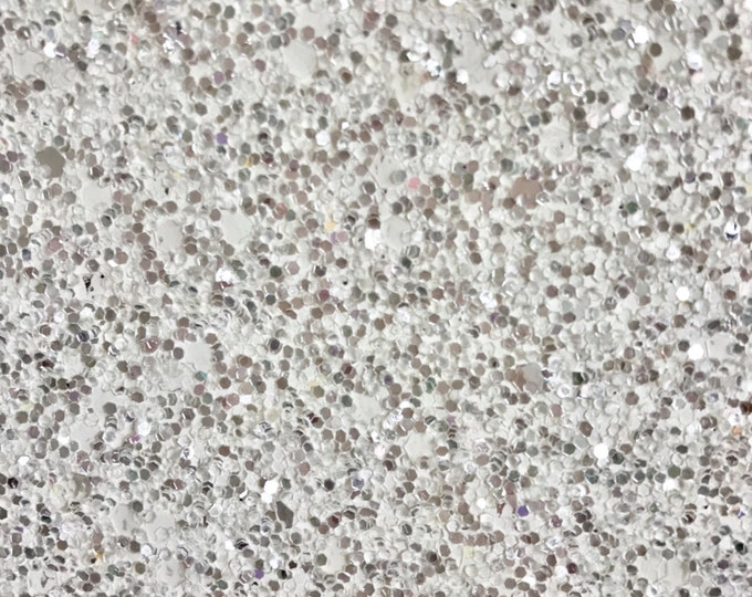Snow Queen Chunky Silver White Glitter Fabric Sheet 0.7mm Thick A4 or A5 Sheets Chunky White Silver Shot Glitter A5 A4 Sheets