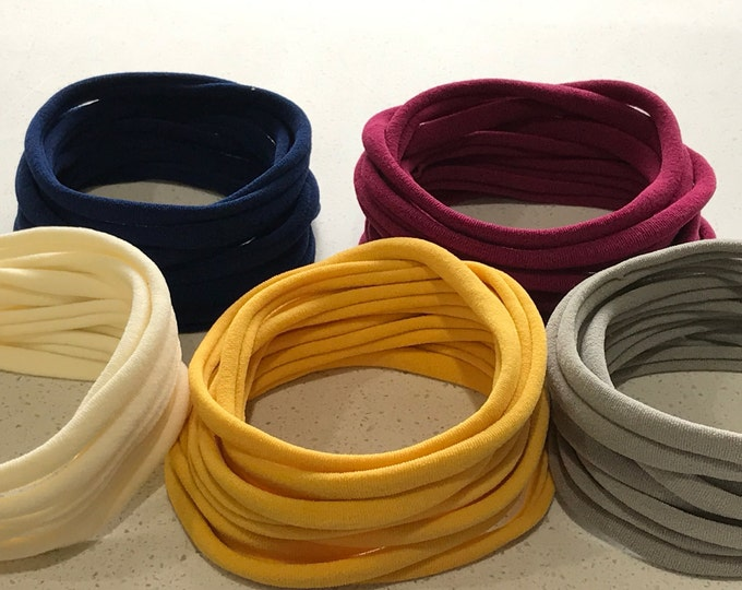 50 Pieces 10 Colours Free Post Australia Super Soft Thin Wholesale Nylon Elastic Stretch Baby Headbands One Size Fits All   5-6 mm   26cm  