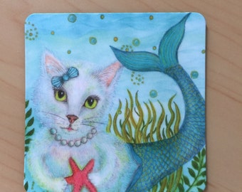 Magnet, Mermaid, Merrpurr, under the sea, starfish,  2 inches x 2 inches, rounded corners, fridge, list  Perfect Small Gift,