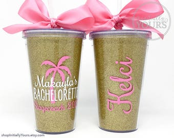 Custom Beach Bachelorette Cups, Personalized Party Gift Ideas, Bachelorette Cruise, Glitter Acrylic Tumbler, Beach Bachelorette Party