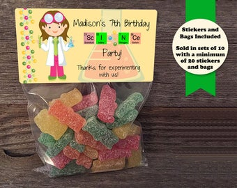 Scientist Birthday Treat Bags, Science Experiments, Science Birthday, Science Party, Scientist Birthday Party, Birthday Treat Bags, Science