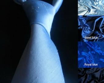 Blue  silk wedding necktie groom groomsmen christening prom formal neck tie pale blue navy