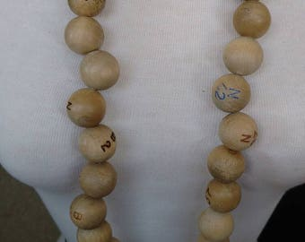 Bingo necklace// upcycled // wood balls // repurpose// long necklace// gift for her // odd jewelry//