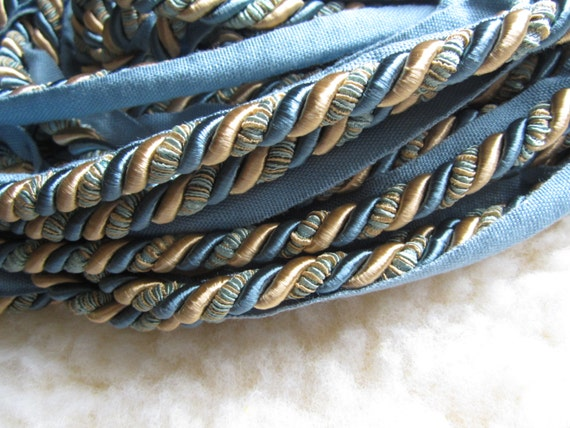 Blue and yellow gold twisted lip cording trim, 15+ yards